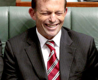 Tony Abbott - giggling like a schoolgirl