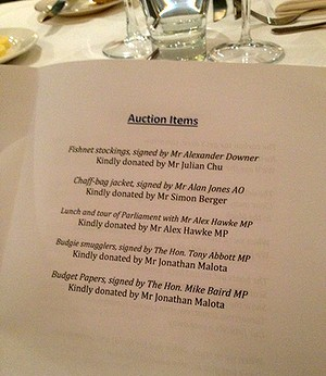 The auction items list from the function