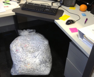 One of the bags of shredded documents that greeted new union management