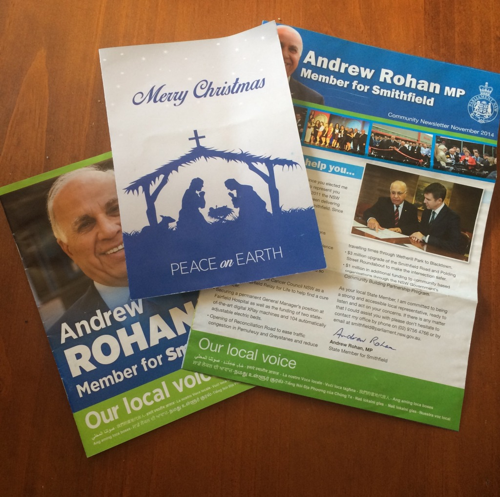 Some of the taxpayer funded mailouts sent to residents not in Rohans electorate