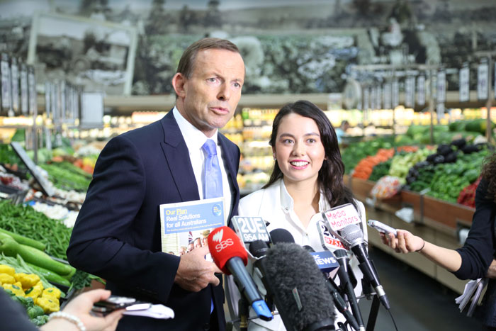 Abbott chooses Woolworths as a location for a presser on the campaign trail...