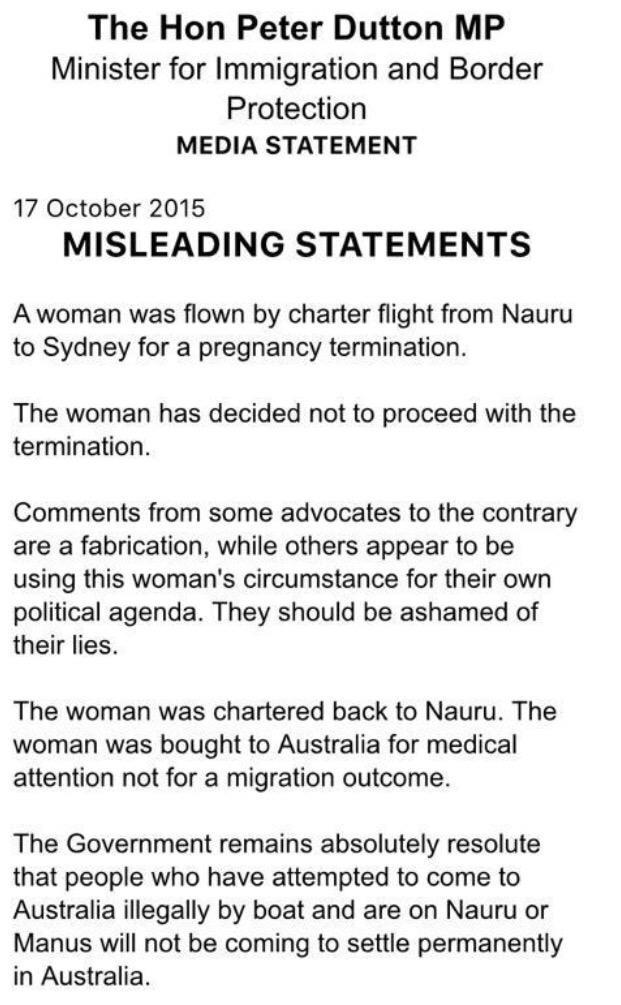 Dutton media statement