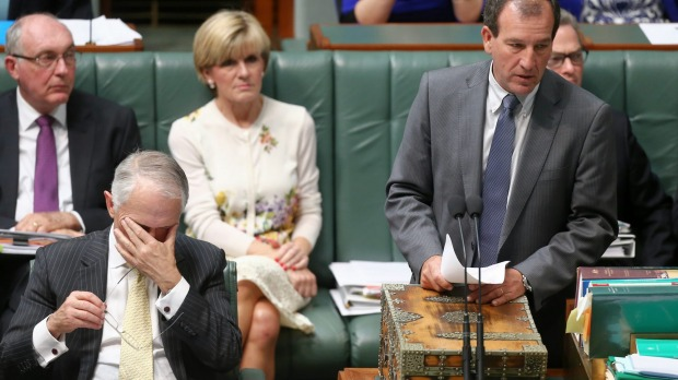 Please just shut up and go away... Turnbull hangs his head as Brough opens his mouth Image - Fairfax