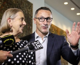 Di Natale waves to his Party's integrity as it leaves the building Image - ABC