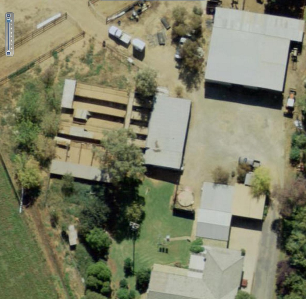 The huge dog sheds on Pam Edwards property can be easily spotted with a drone