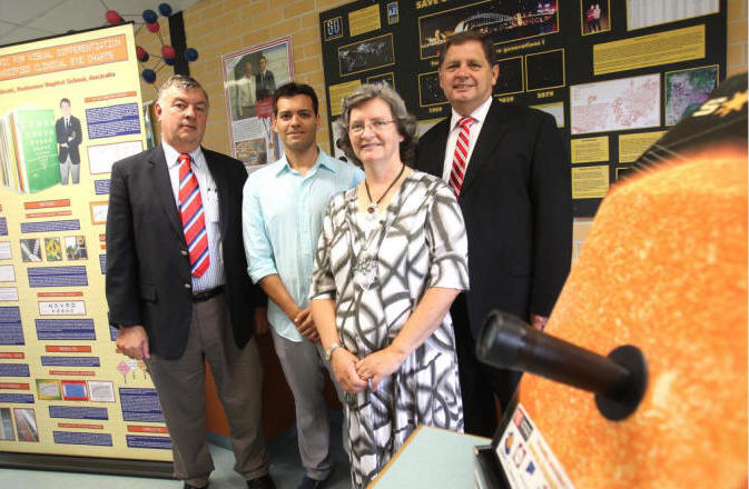John Cannon on the left, teachers Diane and Stuart Garth on the right, with astrophysicist Angel Lopez-Sanchez
